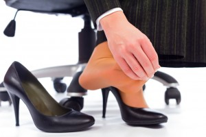 Stretching and using electrical stimulation for plantar fasciitis