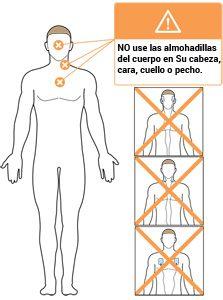 NO use las almohadillas del cuerpo en su cabeza cara cuello o pecho